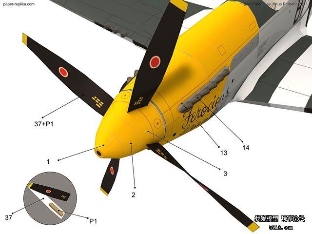 p51d 仿真纸飞机!纸模型图纸可放大采用kt龙骨 外壳diy仿真飞机